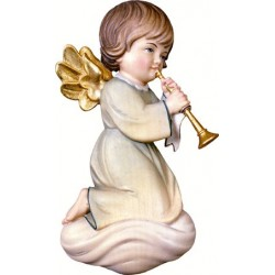 """Angelo in legno """"pitti"""" con trombone"""