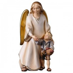Angelo custode con bimbo in legno