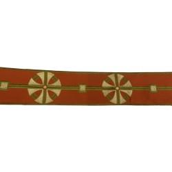 Bordo casula laminette croce su raso marrone e oro